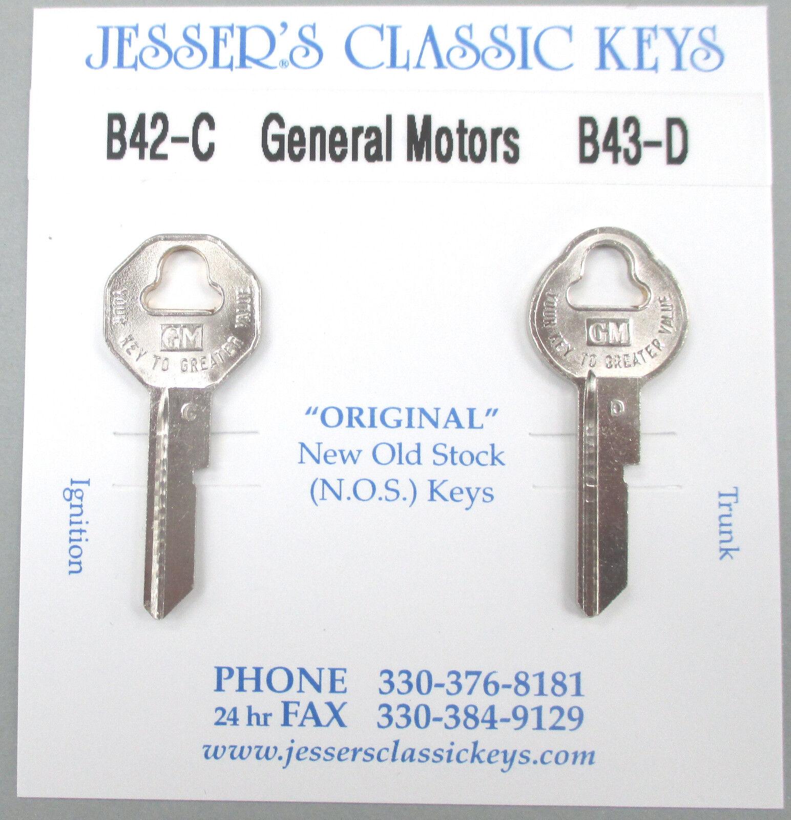 Original 1968 Oldsmobile GM Keys B42-C B-43-D NOS Key Set '68 Olds