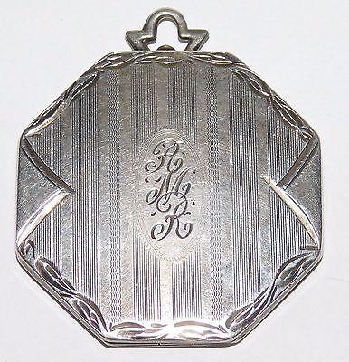 Large Antique Victorian/Art Deco Sterling Silver Ornate Etched Locket Pendant