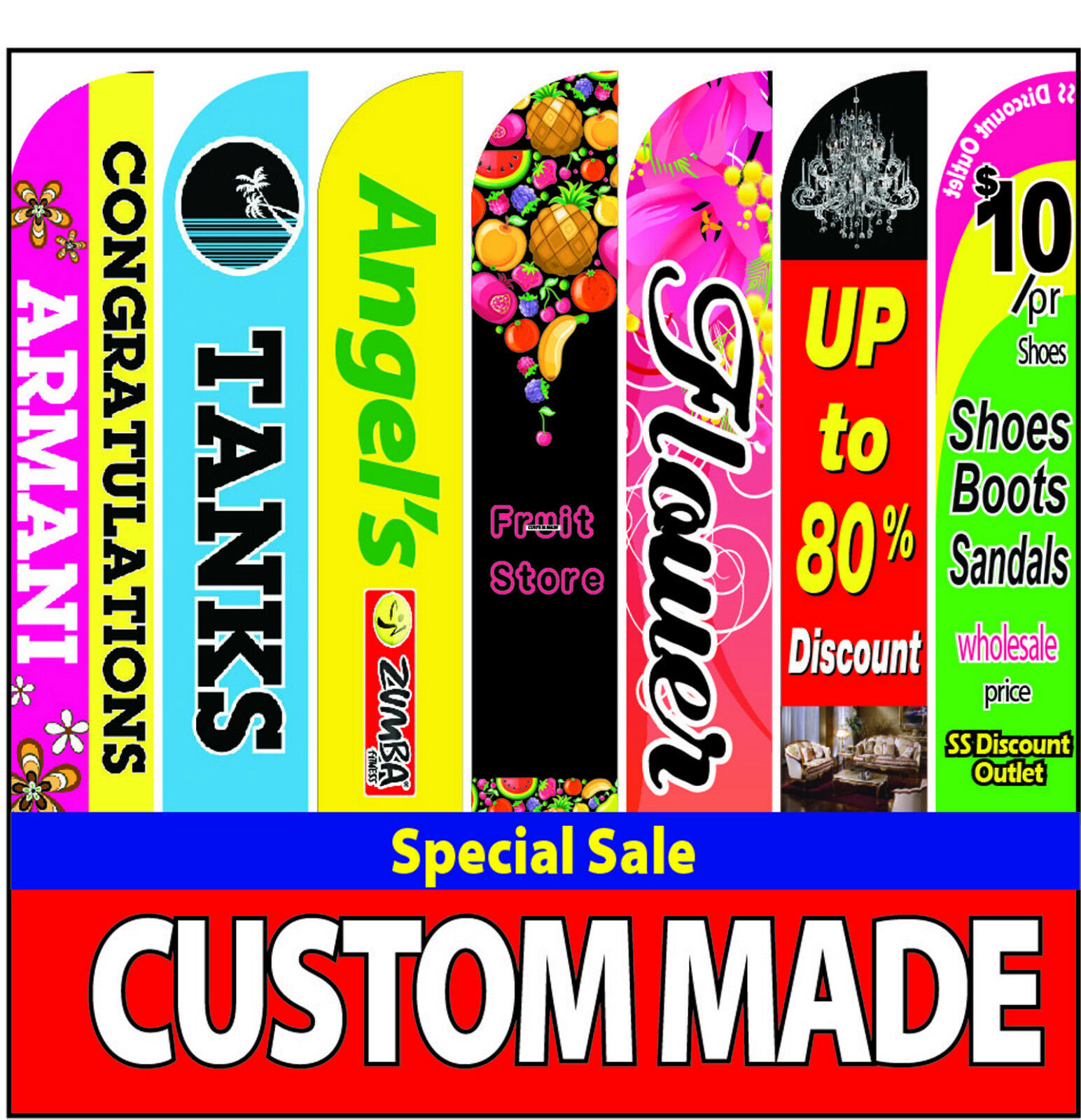 15ft custom Double-side super feather full color flag + pole + spike