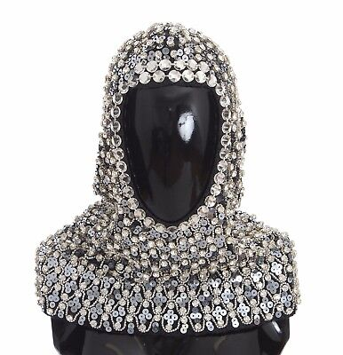 NEW $2600 DOLCE & GABBANA Hood Scarf Hat Crystal Sequined Gray Knitted Wool