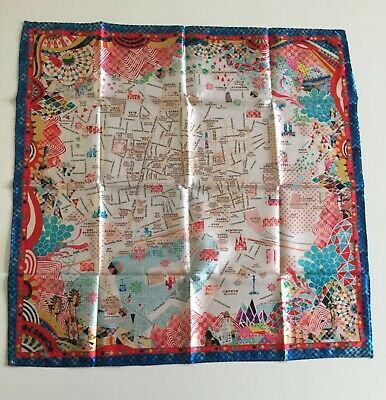 Silky scarf/neckerchief 53 x 53 cms printed map of Barcelona
