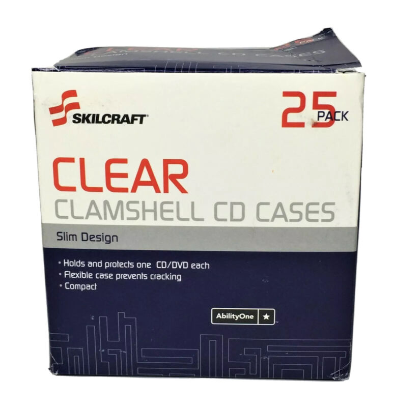 Skilcraft Clamshell CD/DVD Cases, Clear, 25/PK