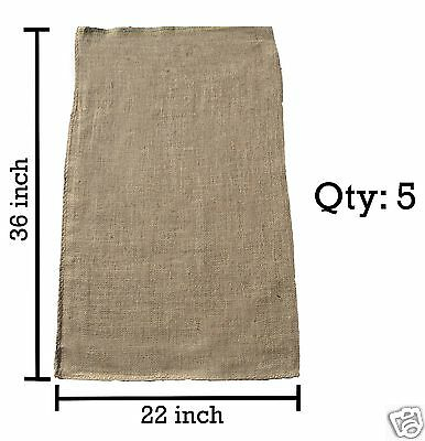 5 Burlap Sacks- Potato Sack Race Bags, Sandbags, Gunny Sack 22x36