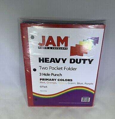 Jam Paper Heavy Duty 3 Hole Punch 2 Pocket Plastic School Presentation Folders