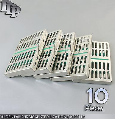 10 Dental Surgical Sterilization Cassette Racks Box For 10 Instruments