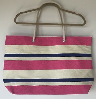 DSW Beach Tote Striped Pink Ivory Weekender Shopping Travel Sports Lined BNIB