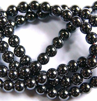 100 x  BLACK~ROUND~HEMATITE~MAGNETIC~GEMSTONE BEADS,  4 MM