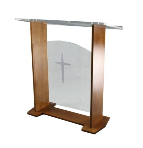 """47""""Brown Wood Clear Acrylic Podium Church Lecturn Conference Pulpit Option Cross"""