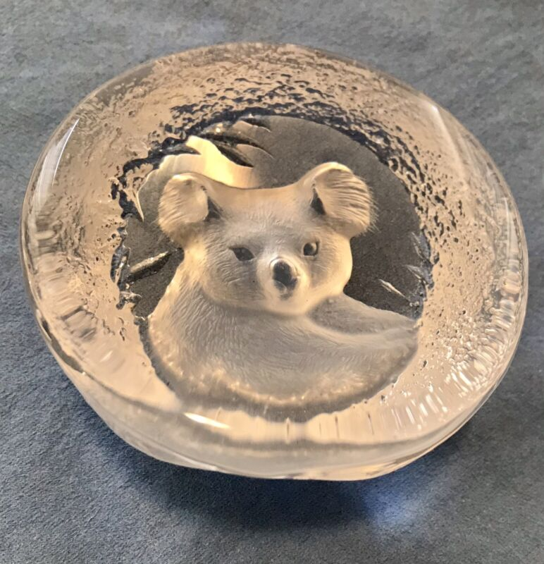 "Vintage Mats Jonasson Glass Paperweight KOALA Bear Hand Signed MCM 3"" Wide EUC"