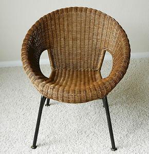 Vintage Mid Century Modern Wicker Dish Saucer Chair Iron Frame Legs EBay