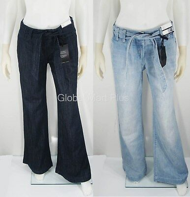 Denim Jeans Belted Trouser Wide Leg Flare Uptown Rise Zipper Fly New York   Co