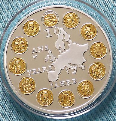 Medaille: 10 Jahre Euro, 12 Staaten mit Goldaplikationen