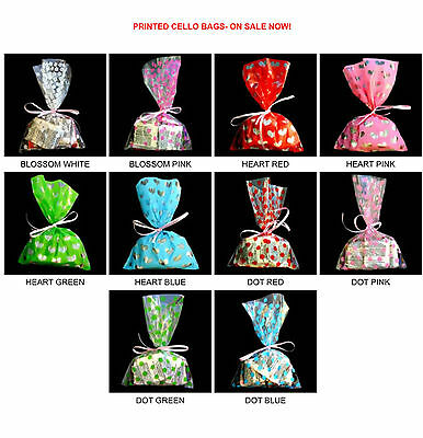Printed Cello Bags 100Ea Pack  Bakery Cookie Cellophane Bag  3 Sizes  10 Styles