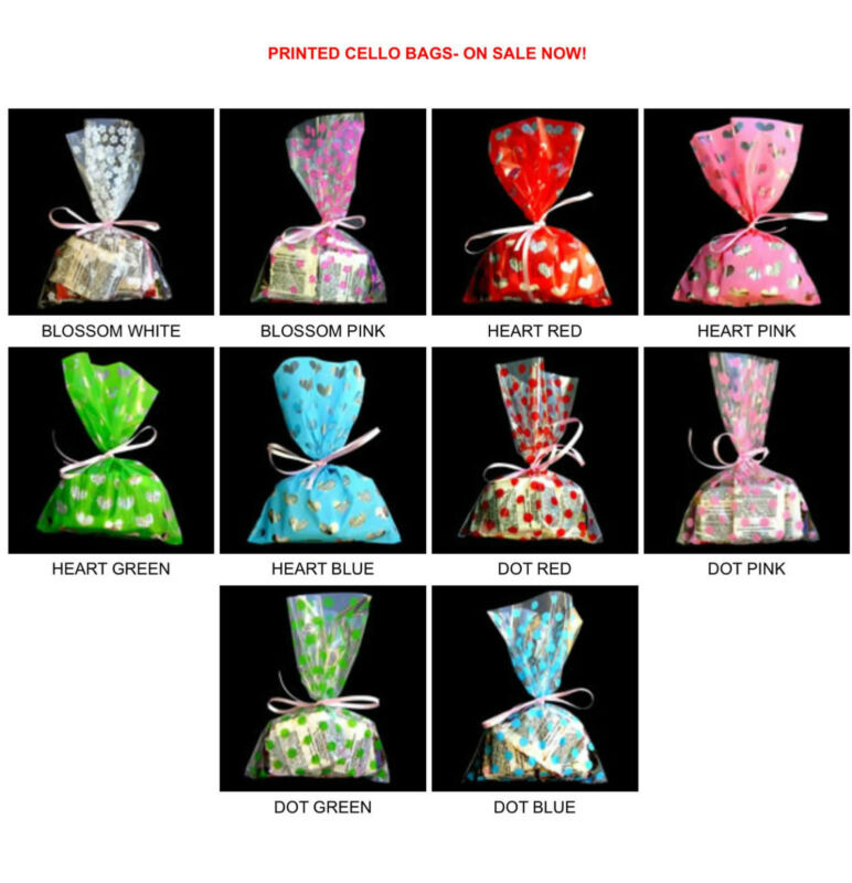 PRINTED CELLO BAGS-100EA/PACK, Bakery Cookie cellophane bag, 3 sizes, 10 styles.
