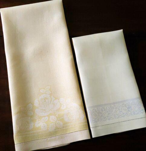 2 YELLOW Vintage Antique Irish Linen Damask Towels