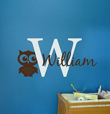 - Owl Monogram Initial Nam- Wall Decal Vinyl Baby Boy Nursery Animal Theme Decor