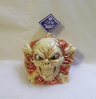 Slavic Treasures Glass Ornament Joe Inferno Skull Cross Bones Halloween S17 & -