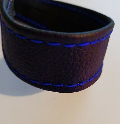SEAT STRAP FOR MOTORCYCLE BEST QUALITY BLACK ITALIAN LEATHER BLUE (Best Leather For Motorcycle Seat)