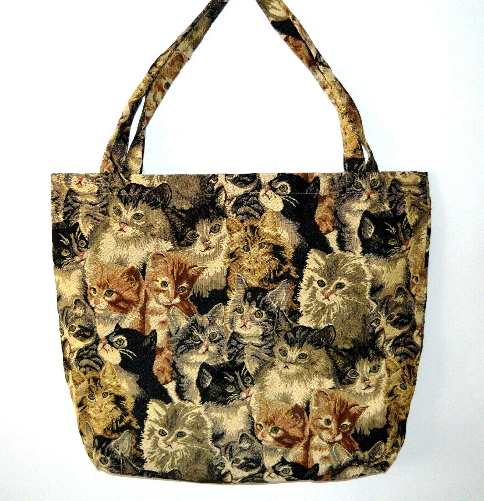 Katzen Tasche Einkaufstasche Umwelttasche Kätzchen viele robust stabil 2 Größen