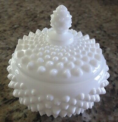 Glass Candy Jars Wholesale (Vintage Milk Glass White Hobnail Candy Jar Covered Dish)