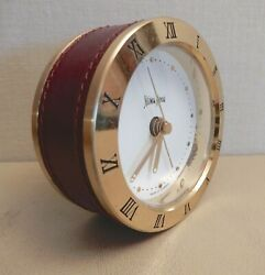 Neiman-Marcus Table Top CLOCK Brass & Leather Germany Luminous Alarm Vintage