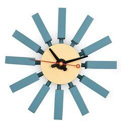 LeisureMod Vdara Modern Design Block Silent Non-Ticking Wall Clock in Blue