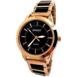 Montre femme classe noir cuivre l gant ernest acier or rose shanel michael luxe ebay Decoration noir or luxe classe