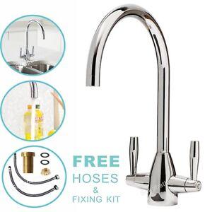 Kitchen Tap Sink Mixer Twin Lever Handle Faucet Chrome Basin Deck Brass Taps UK