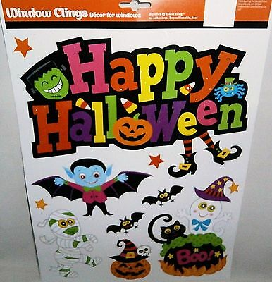Halloween Window Clings  HAPPY HALLOWEEN  ASSORTED GHOSTS AND GOBLINS
