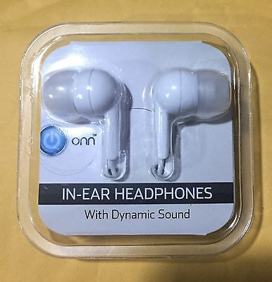 onn in-ear headphones earbuds never opened brand new white ipod iphone
