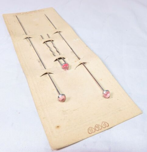 Paye & Baker Edwardian Sterling Silver, Steel, Pink Glass Hat and Hair Pins