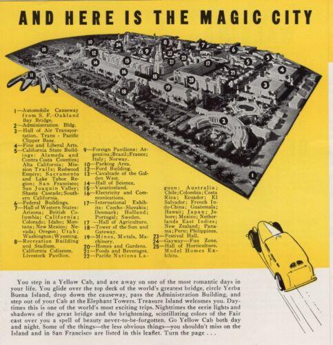 1939 San Francisco Yellow Cab Advertisement, Golden Gate Expo Tour & Map