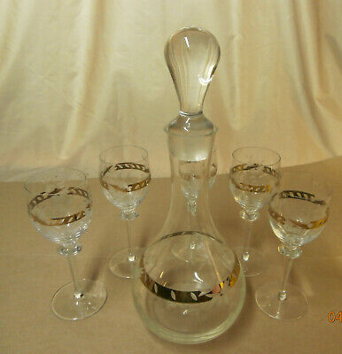 Vintage Etched and Gilded Decanter Set, w/5 Sherry Glasses