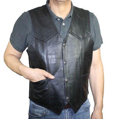 Men's Motorcycle Genuine Rough Leather Black Western Plain VEST ](Western Vests)