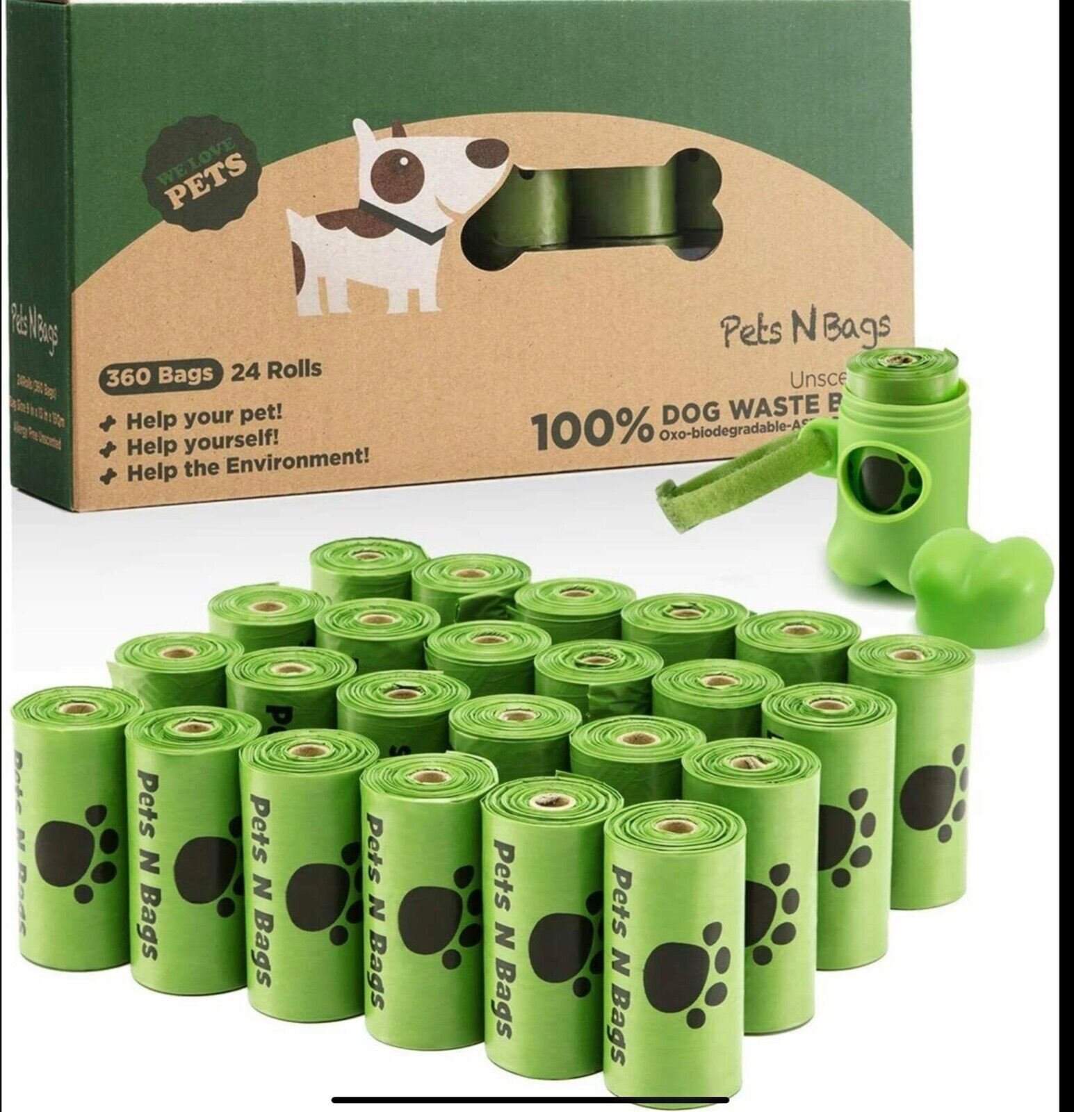 Pets N Bags Dog Poop Waste Bags Biodegradable Unscented Refill Rolls 360 Ct NEW - $9.99