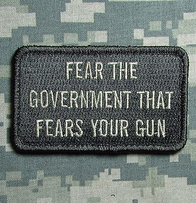 FEAR THE GOVERNMENT GUN ARMY USA MILITARY ACU LIGHT HOOK & LOOP MORALE PATCH
