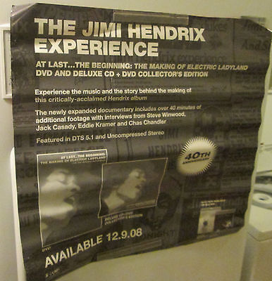JIMI HENDRIX POSTER ROCK 2008 RECORD STORE PROMO COLLECTABLE DISPLAY