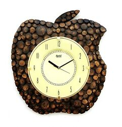 Wooden Wall Clock Wood Craft Art Hand Crafted Apple shape Handicraft 10 Dial