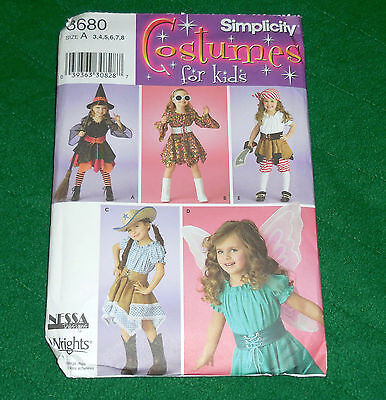 Simplicity Costumes for Kids 3680 Size A (3-8) Witch Pirate Cowgirl Fairy Skirts](Cowgirls Costumes For Kids)