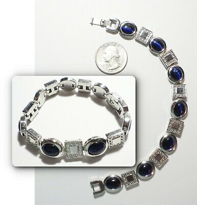 Vintage Dark Blue Cat's Eye Glass Bracelet, Oval & Square Links, Silvertone 7.5