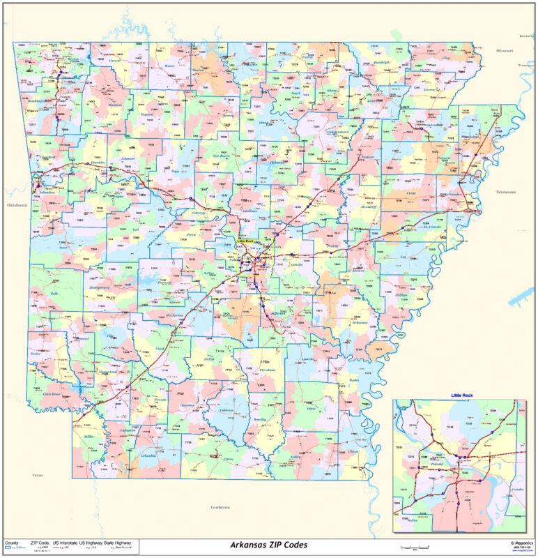 Arkansas State Zipcode Laminated Wall Map