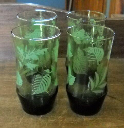 VTG LIBBEY HOSTESS GLASSES,SET OF 4 DRINKING GLASSES GREEN W/LEAVES Shamrocks