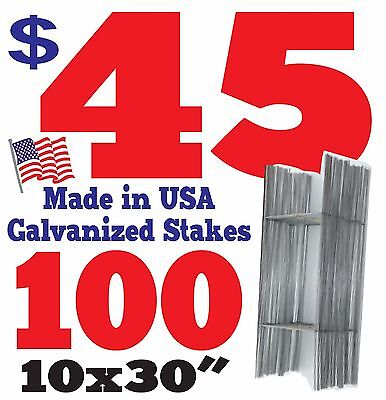 """100  Wire Stakes 30"""" for Yard Signs, Political, Fair, Garage Sale 9 Gauge"""