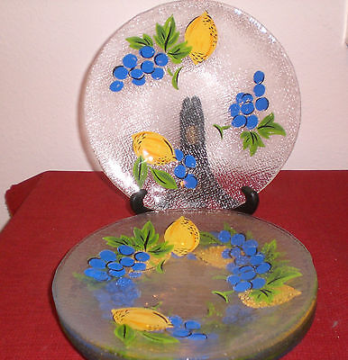 (Eight Handpainted Textured Glass Fruit & Leaves Luncheon/Salad Plates 8.25
