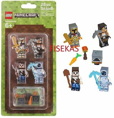 Lego Minecraft Skin Pack 4 Minifigures Kit 28 Pieces 853610 Figures 2016 New