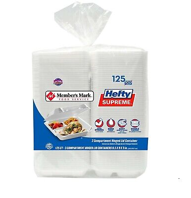Compartment Foam Hinged Lid - Member's Mark Three-Compartment Foam Hinged Lid Container by Hefty (125 ct.)