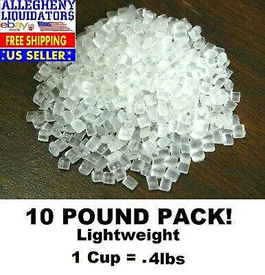 10-lbs Lightweight More Per Pound Plastic Beads Pellets Craft Fill Clear