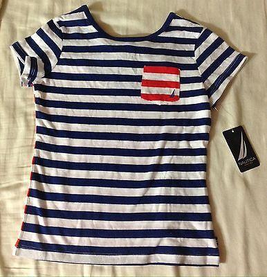 Nautica Girls Red Blue White Stripe Tee Shirt Top Size 5 NWT $27