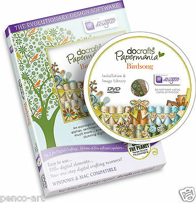 Docrafts Papermania Birdsong digital designer CD Rom DVD Bird Song Card making