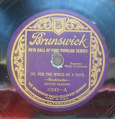 "10"" MASON EDITH Opera 78rpm US Electric Brunswick 10243 Serenade (Tosti)"